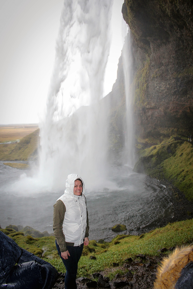 Barbara at Seljalandsfoss waterfall in Iceland