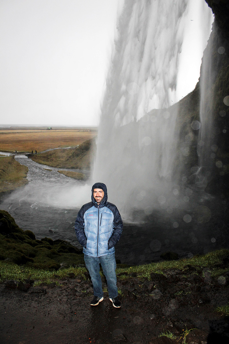 Mark at Seljalandsfoss waterfall in Iceland