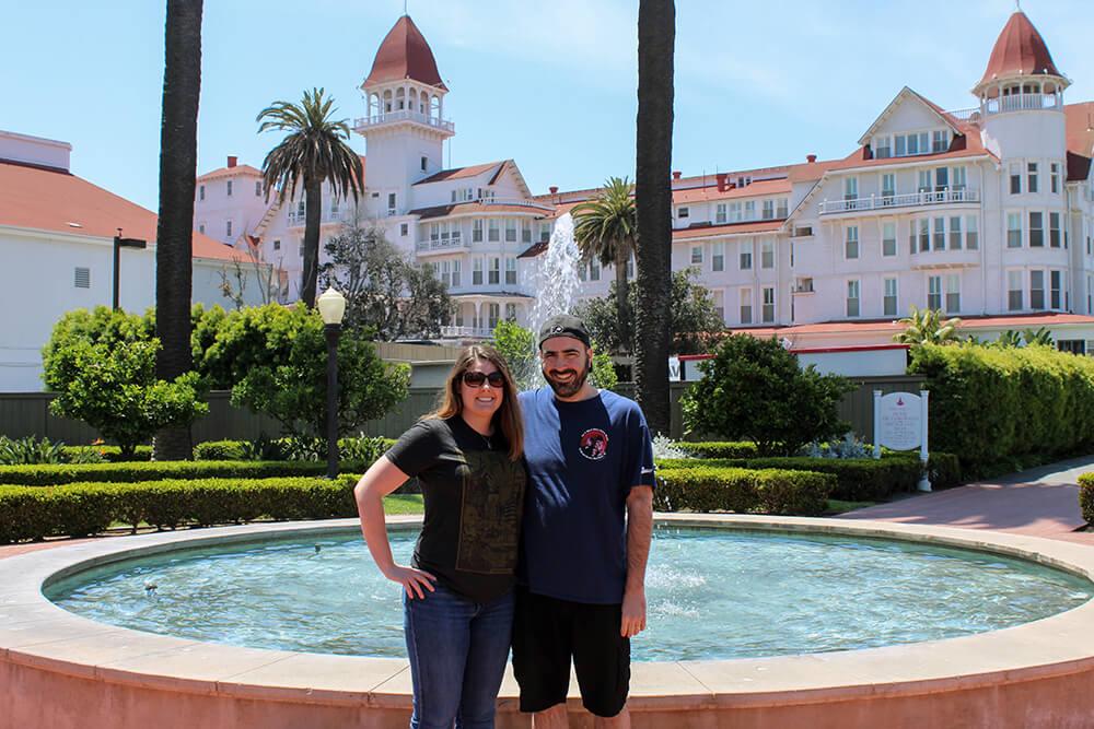 Barbara and Mark in front of Hotel Del Coronado