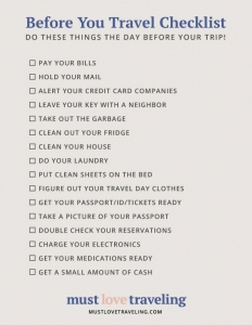 Before you leave checklist
