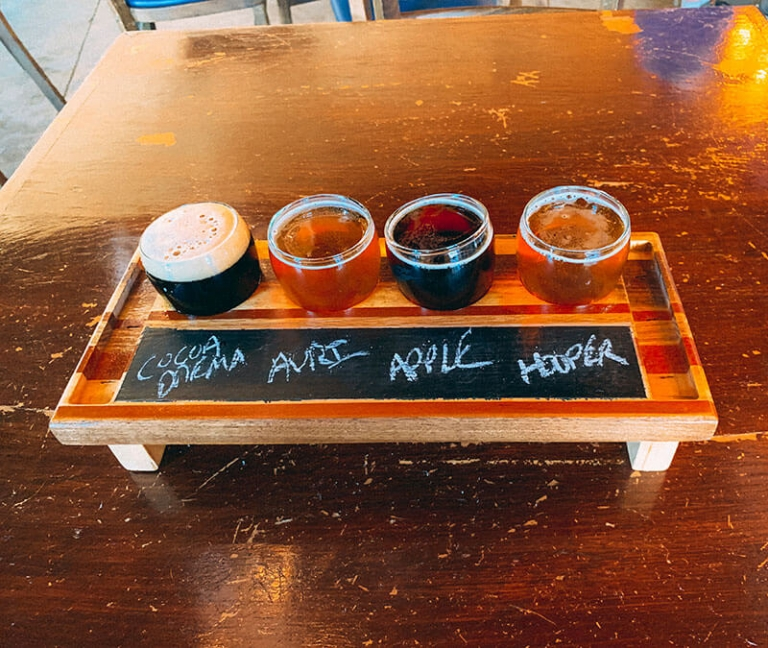 beer flight at Devil's Creek Brewery