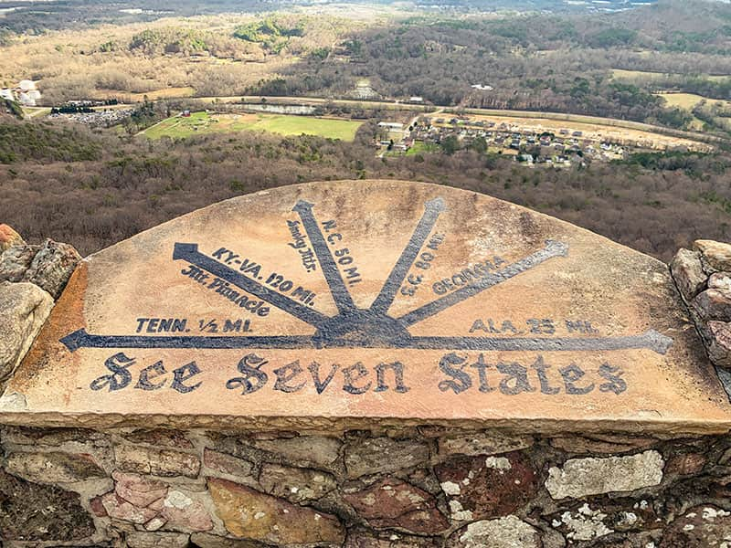 see seven states sign from Lookout Mountain at Rocky City Gardens