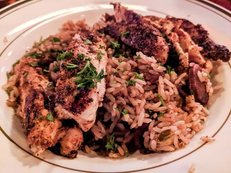 blackened chicken jambalaya at Pierre Maspero's