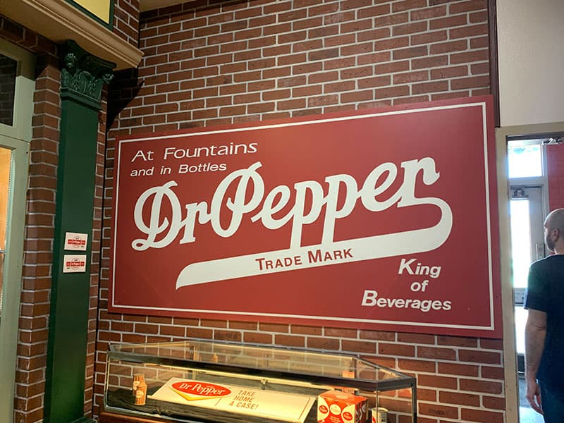 Old Dr. Pepper sign inside the Dr. Pepper Museum in Waco, TX
