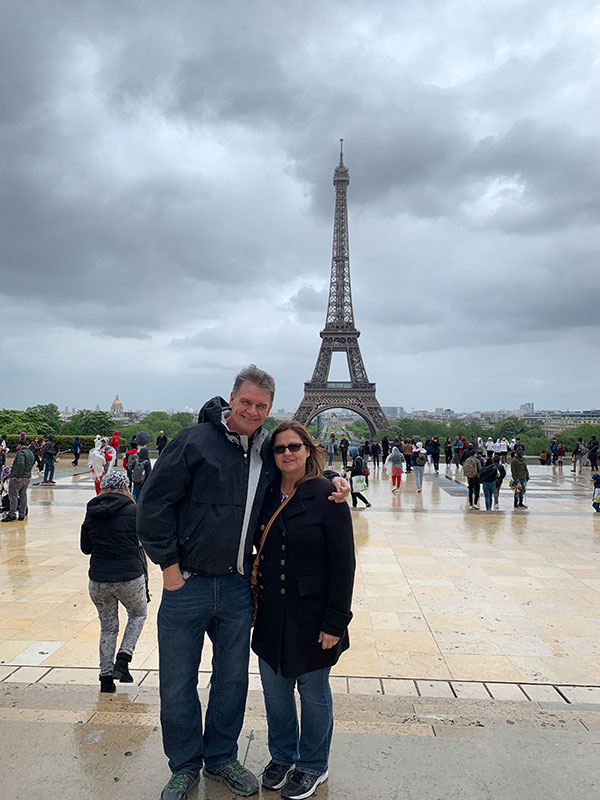 Mom and Dad in front of the Eiffel Tower