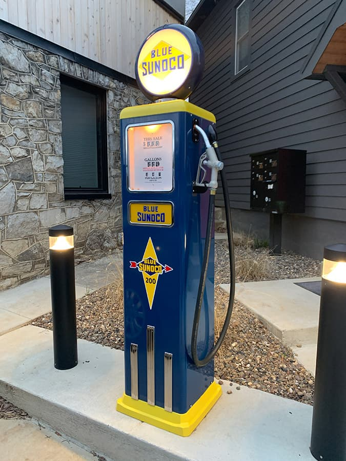 vintage gas pump outside unique Airbnb in Winchester, VA