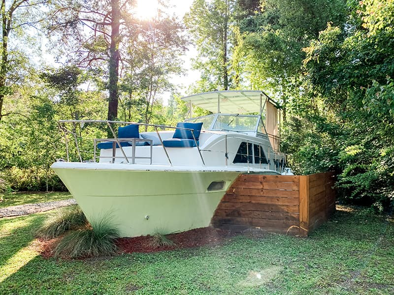tiny house boat on the property