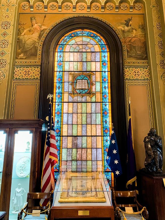 George Washington's masonic apron located inside the Masonic Museum in Philadelphia