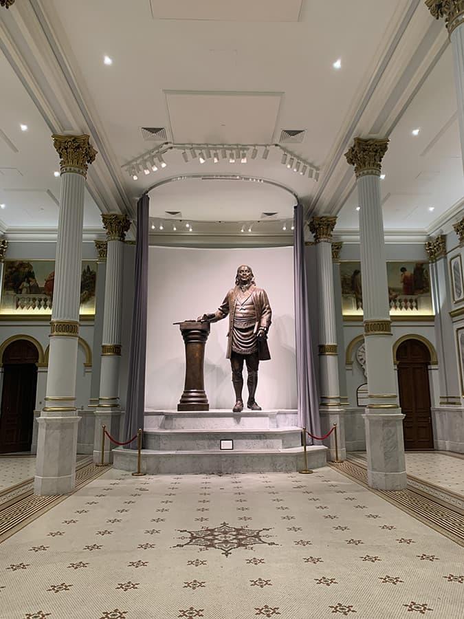 Giant Benjamin Franklin statue inside the Grand Ballroom of the Philadelphia Masonic Temple