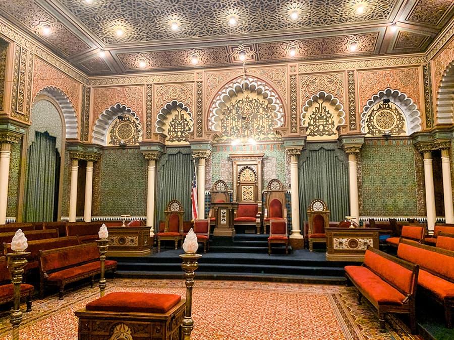 oriental hall inside the Masonic Temple in Philadelphia
