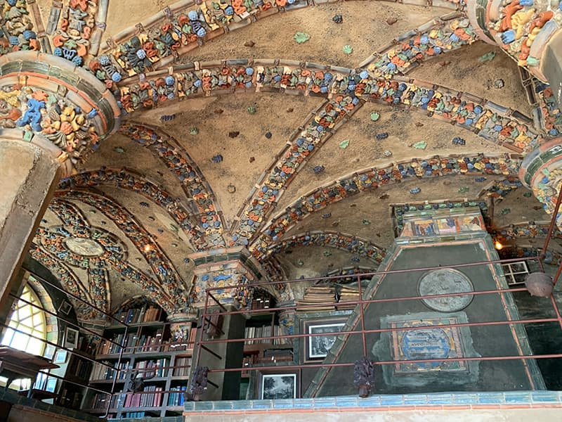 tile work in the Fonthill Castle library