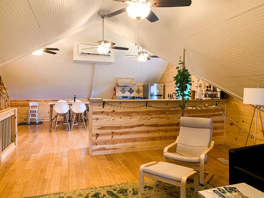 living room and kitchen in winery loft