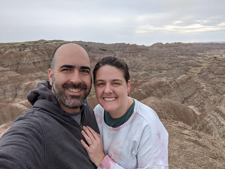selfie Mark and Barbara in Badlands National PArk